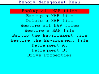 MAP Memory Menu Screen